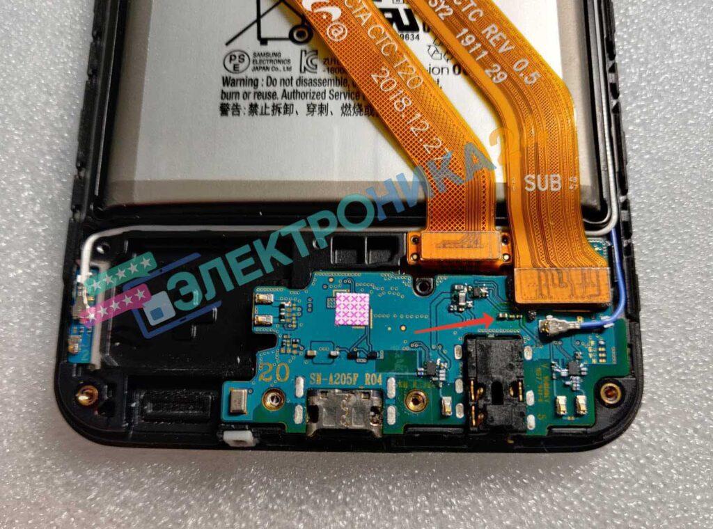 Фото нижней платы Samsung A20